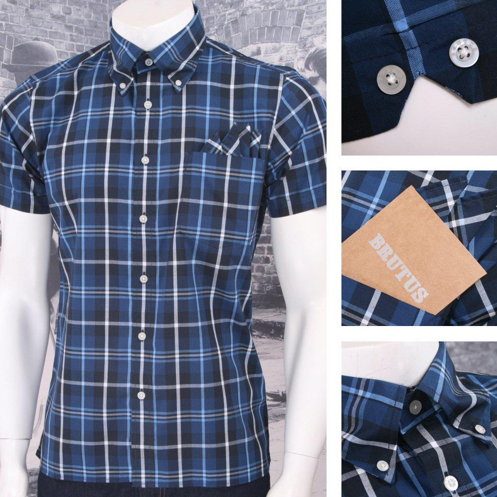 Brutus Trimfit Mod Skin Retro Windowpane Check S/S Shirt BLUE/White/Navy