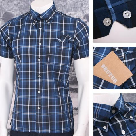 Brutus Trimfit Mod Skin Retro Windowpane Check S/S Shirt BLUE/White/Navy Thumbnail 1