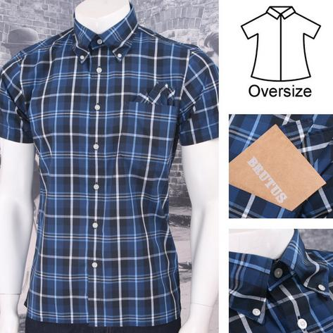Brutus GREATFIT Mod Skin Retro Windowpane Check S/S Shirt BLUE/White/Navy Thumbnail 1