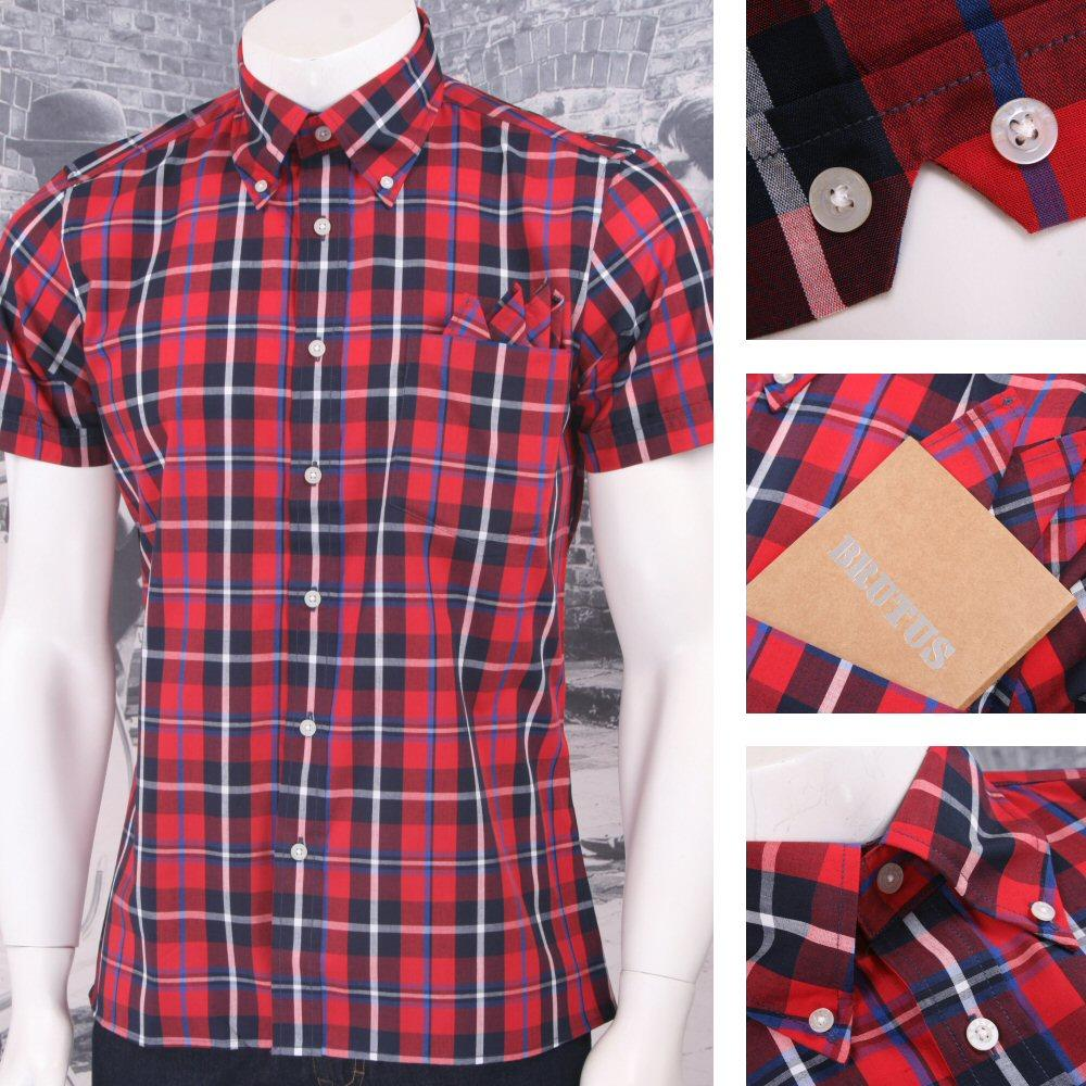 Brutus Trimfit Mod Skin Retro Windowpane Check S/S Shirt RED/White/Blue
