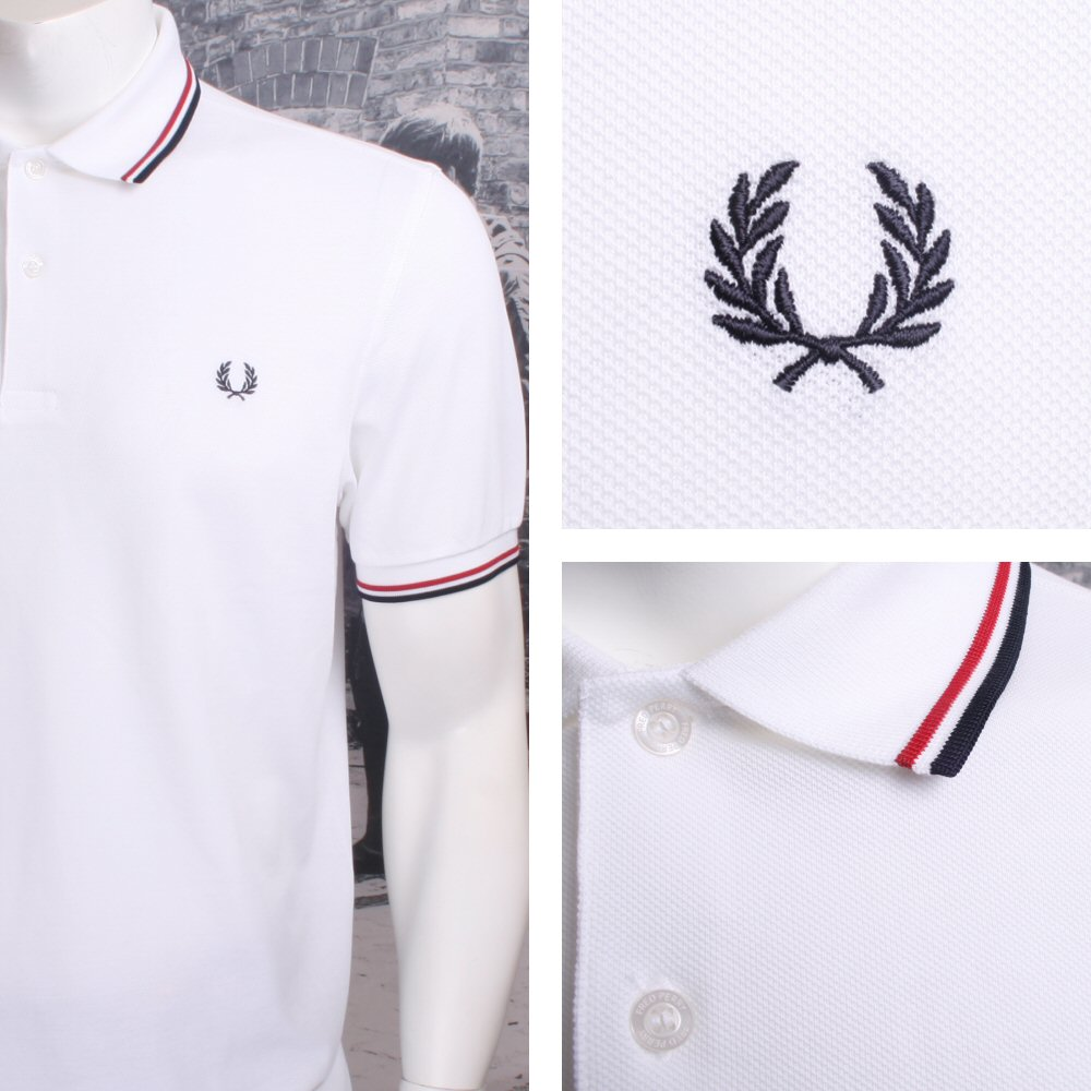 444d1afbc Fred Perry Mod 60's Laurel Wreath Pique Knit Tipped Polo Shirt White  Thumbnail 1 ...