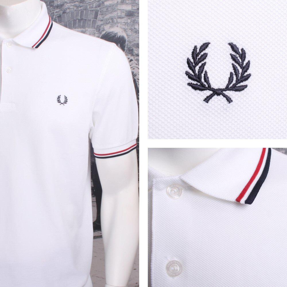 Fred Perry Mod 60's Laurel Wreath Pique Knit Tipped Polo Shirt White