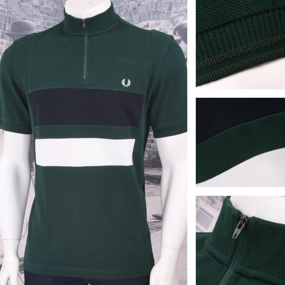 de9d98ae Fred Perry Mod 60's Front Panel Stripe Zip Pique Cycling Shirt Green |  Adaptor Clothing