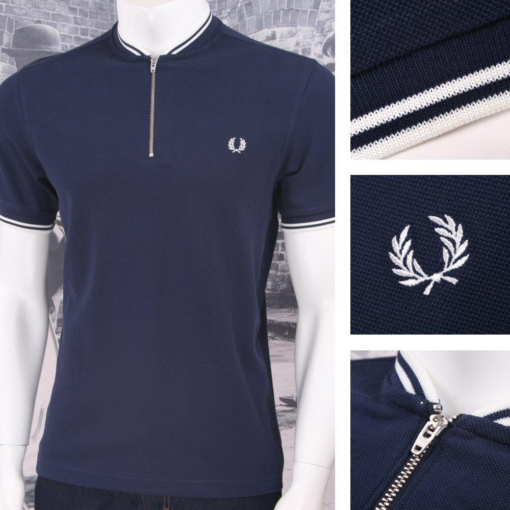 f6a25b833 Fred Perry Mod 60's Twin Striped Zip Bomber Collar Pique Top Blue | Adaptor  Clothing