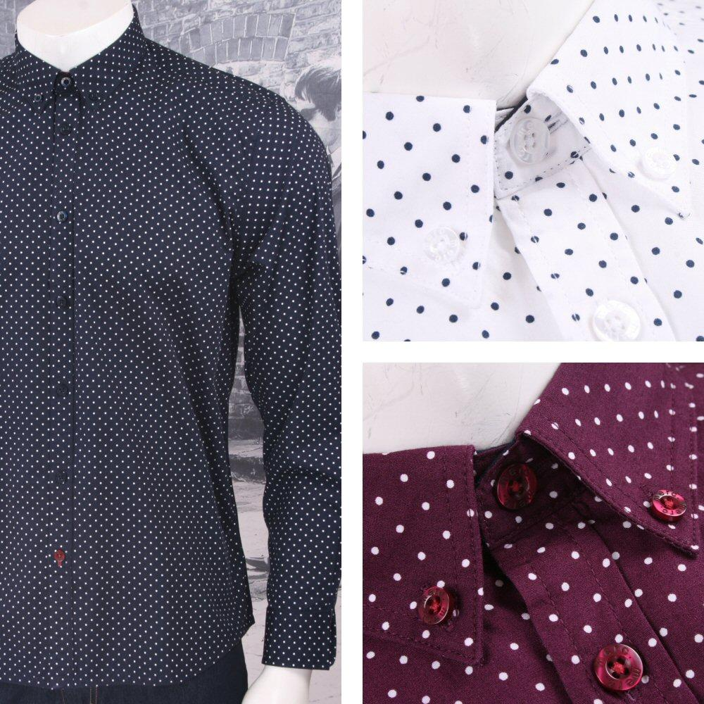 Merc London Mod 60's Retro Button Down Pindot Polka Dot L/S Shirt