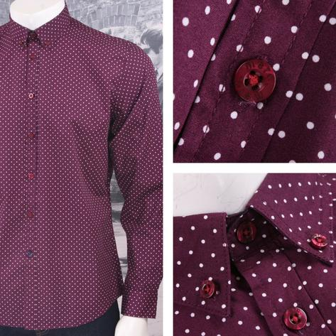 Merc London Mod 60's Retro Button Down Pindot Polka Dot L/S Shirt Thumbnail 4