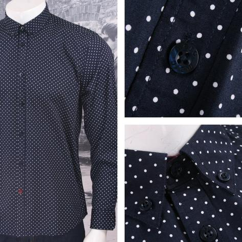 Merc London Mod 60's Retro Button Down Pindot Polka Dot L/S Shirt Thumbnail 2
