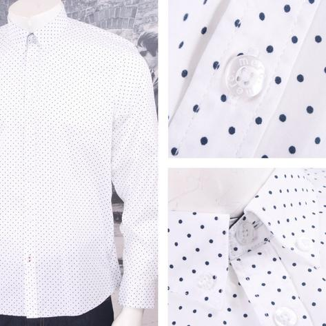 Merc London Mod 60's Retro Button Down Pindot Polka Dot L/S Shirt Thumbnail 3