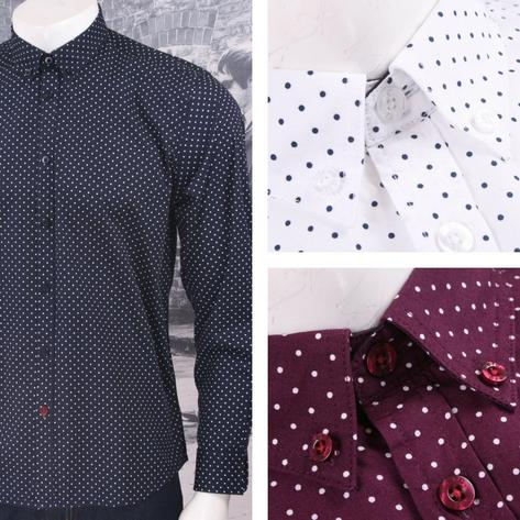 Merc London Mod 60's Retro Button Down Pindot Polka Dot L/S Shirt Thumbnail 1