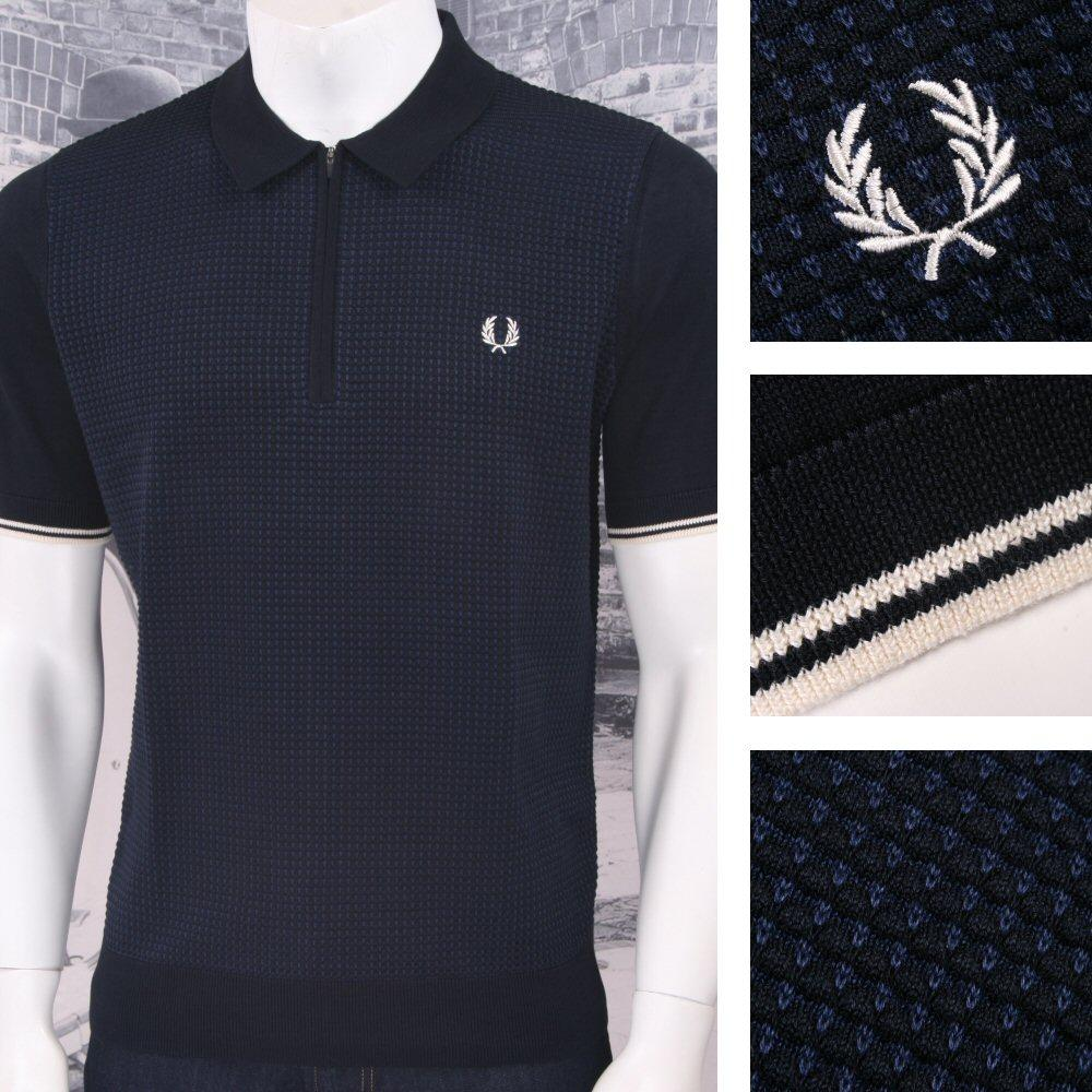 f41301c8 Fred Perry Mod 60's Laurel Wreath Texture Knit Zip Neck Polo Shirt Navy |  Adaptor Clothing
