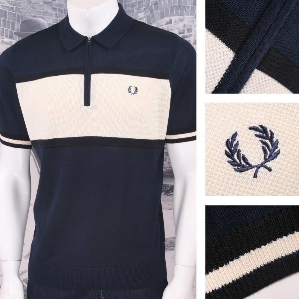 e811a7559b Fred Perry Mod 60 s Laurel Waffle Knit Zip Neck Stripe Polo Shirt Navy