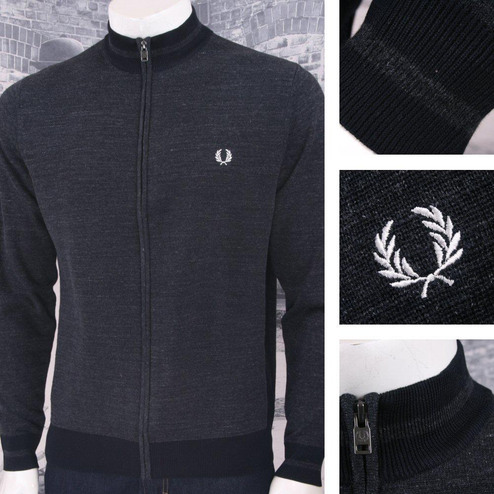 cheap price selected material footwear Fred Perry Mod 60's Marl Cotton Funnel Neck Zip Through Knit Jumper Charcoal