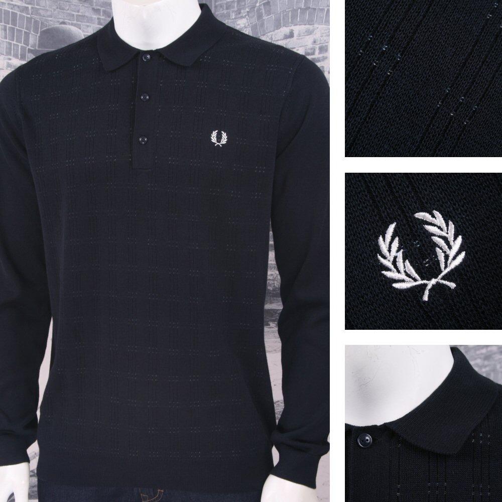 85603bccbb98 Fred Perry Mod 60's Jacquard Stitch Stripe Long Sleeve Knit Polo Shirt Navy