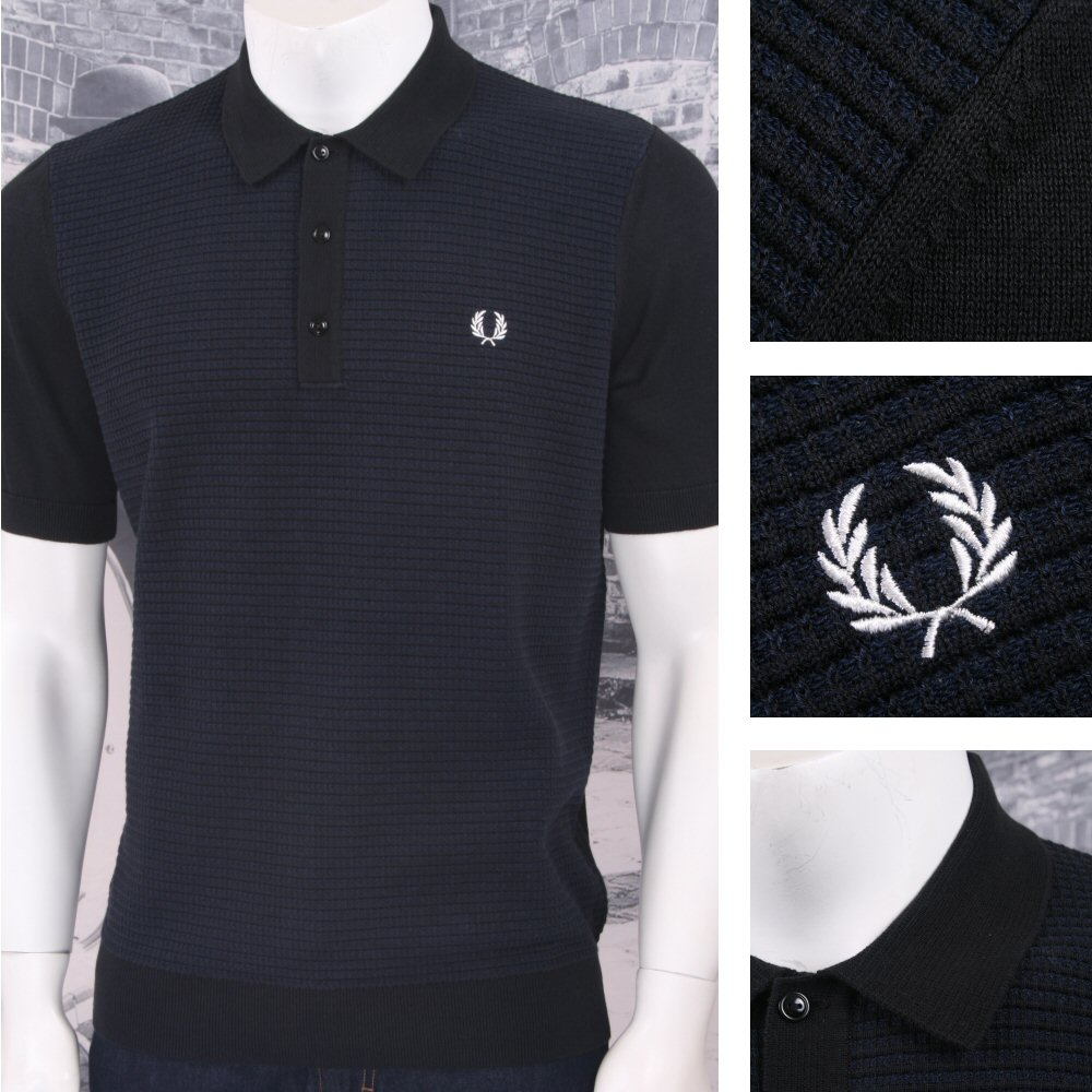 ba965f890f Fred Perry Mod 60's Laurel Wreath Contrast Texture Knit Polo Shirt Navy  Thumbnail 1 ...