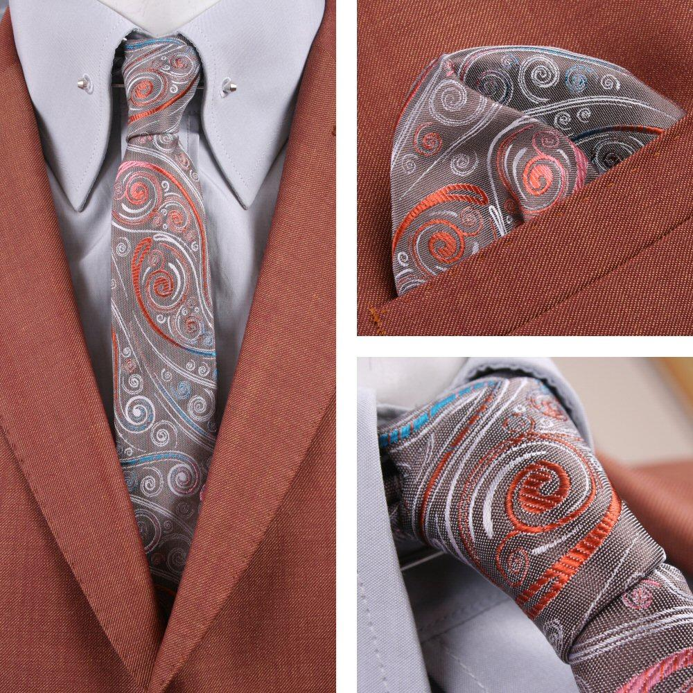 Knightsbridge Retro Mod 60's Matching Paisley Silk Slim Tie and Pocket Square Si