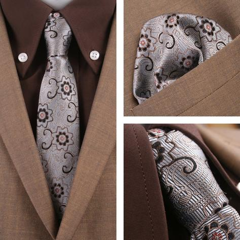 Knightsbridge Retro Mod 60's Matching Paisley Silk Slim Tie and Pocket Square Si Thumbnail 1