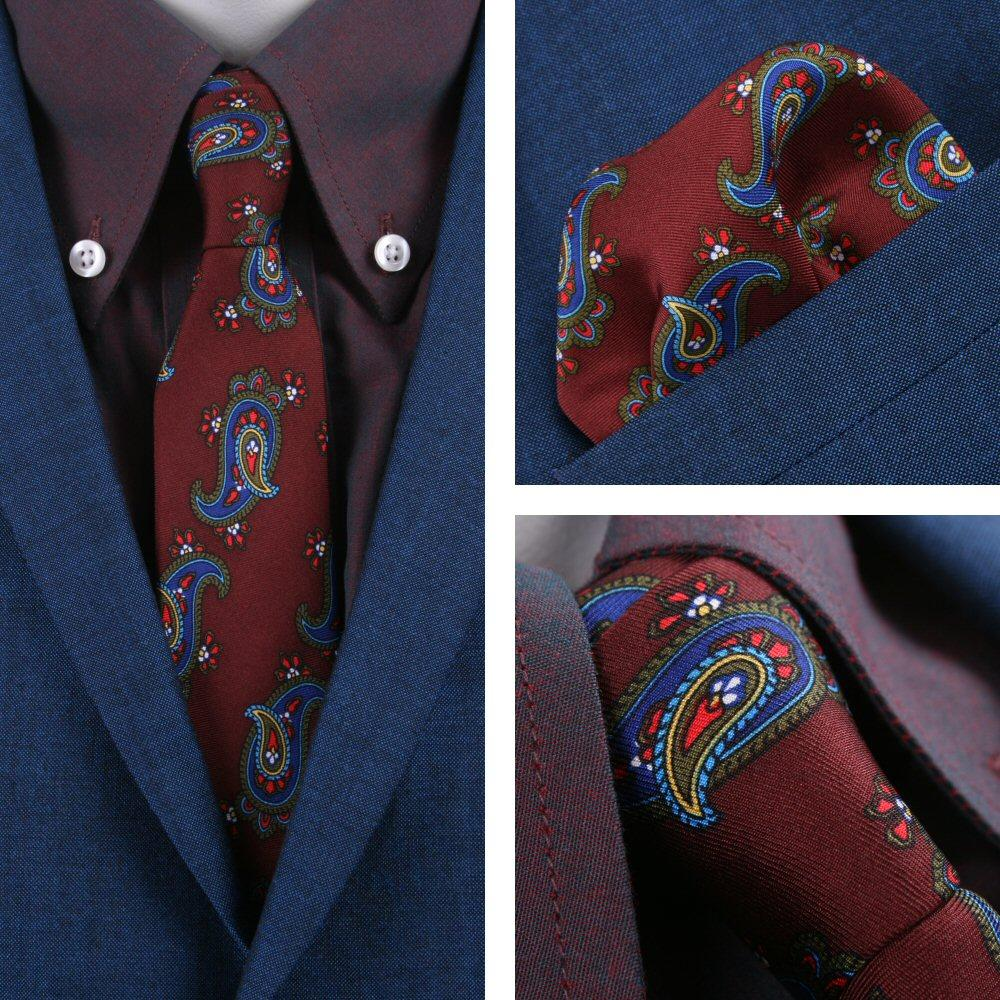 Knightsbridge Retro Mod 60's Matching Paisley Silk Slim Tie and Pocket Square Bu