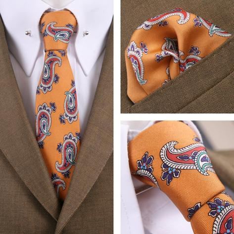 Knightsbridge Retro Mod 60's Matching Paisley Silk Slim Tie and Pocket Square Mu Thumbnail 1