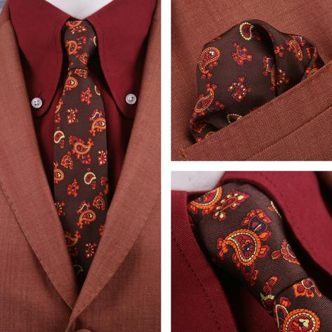 Knightsbridge Retro Mod 60's Matching Paisley Silk Slim Tie and Pocket Square Br