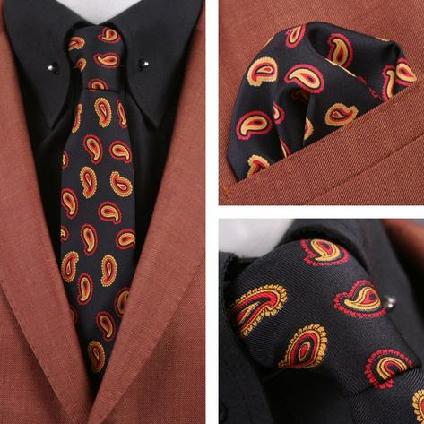 Knightsbridge Retro Mod 60's Matching Paisley Silk Slim Tie and Pocket Square Bl Thumbnail 1