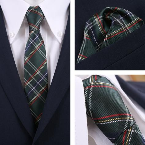 Knightsbridge Retro Mod Skin 60's Matching Tartan Check Silk Slim Tie and Pocket Thumbnail 2