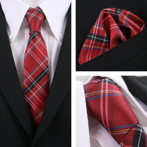 Knightsbridge Retro Mod Skin 60's Matching Tartan Check Silk Slim Tie and Pocket Thumbnail 3