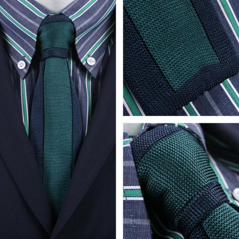 Knightsbridge Retro 60's Silk Square End Vertical Border Stripe Knitted Tie Gree Thumbnail 1