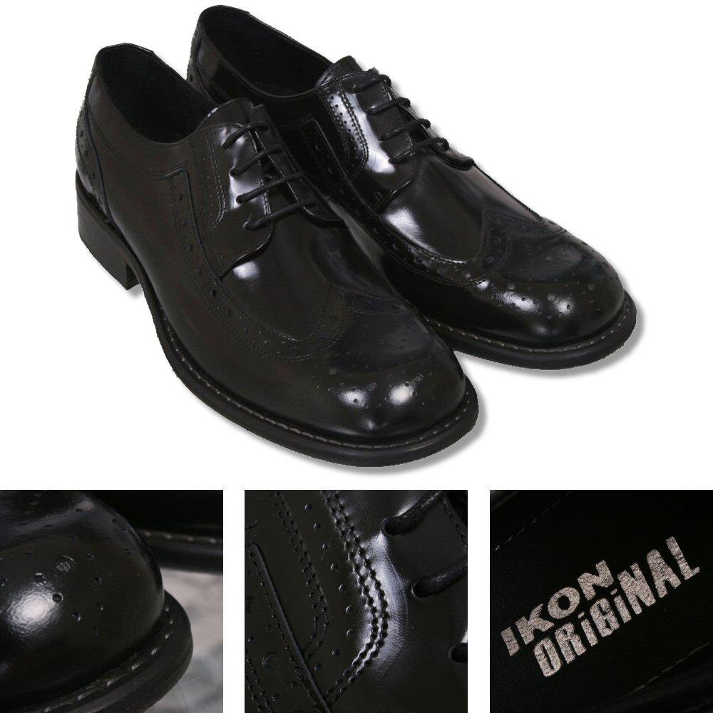 Ikon Originals Toe Cap Skinhead Mod Brogue Shoes Black