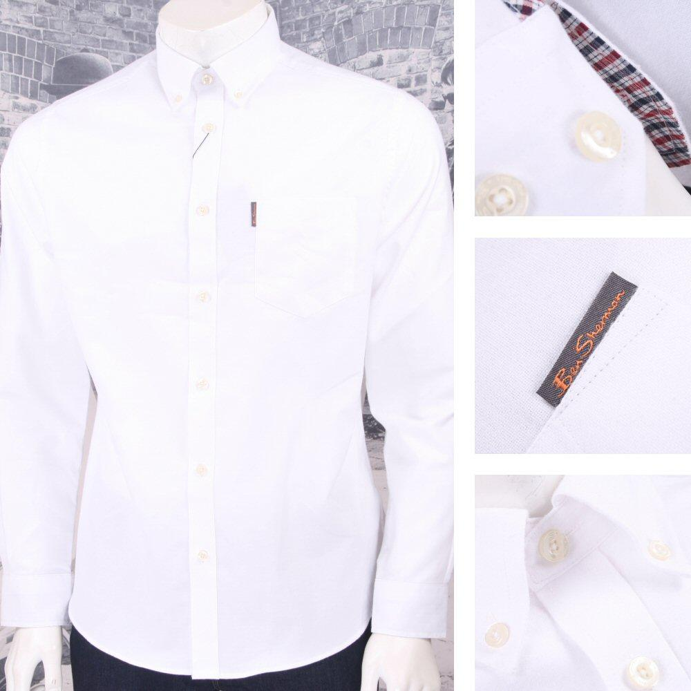 Ben Sherman Mod Retro 60's Oxford Cotton Button Down L/S Shirt White