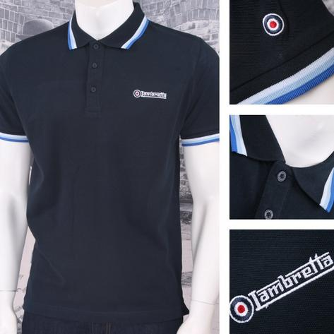 Lambretta Mod Retro 60's 3 Button S/S Tri-Tipped Pique Logo Polo Shirt Navy