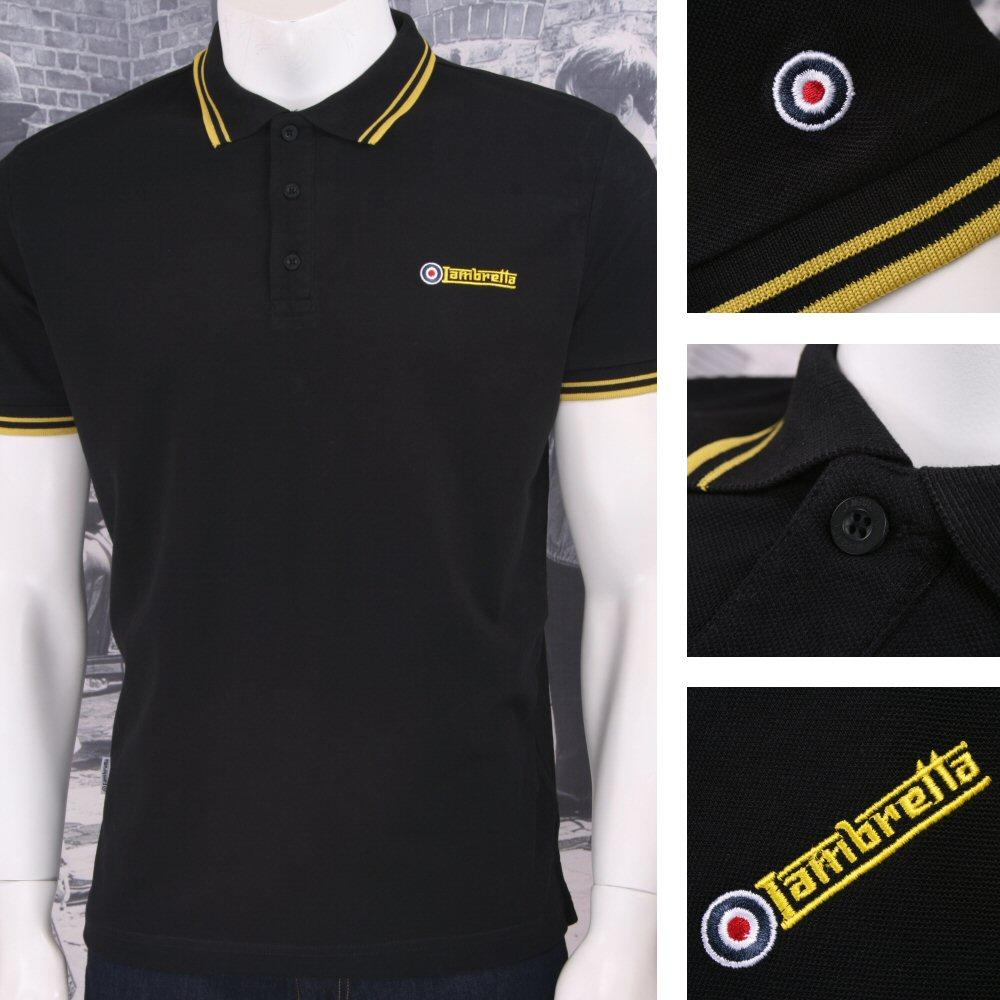 Lambretta Mod Retro 60's 3 Button S/S Twin-Tipped Pique Polo Shirt Black