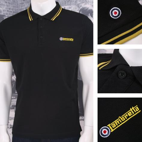 Lambretta Mod Retro 60's 3 Button S/S Twin-Tipped Pique Polo Shirt Black Thumbnail 1