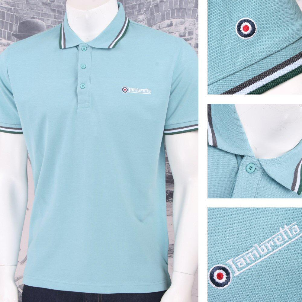 Lambretta Mod Retro 60's 3 Button S/S Tri-Tipped Pique Logo Polo Shirt Mint