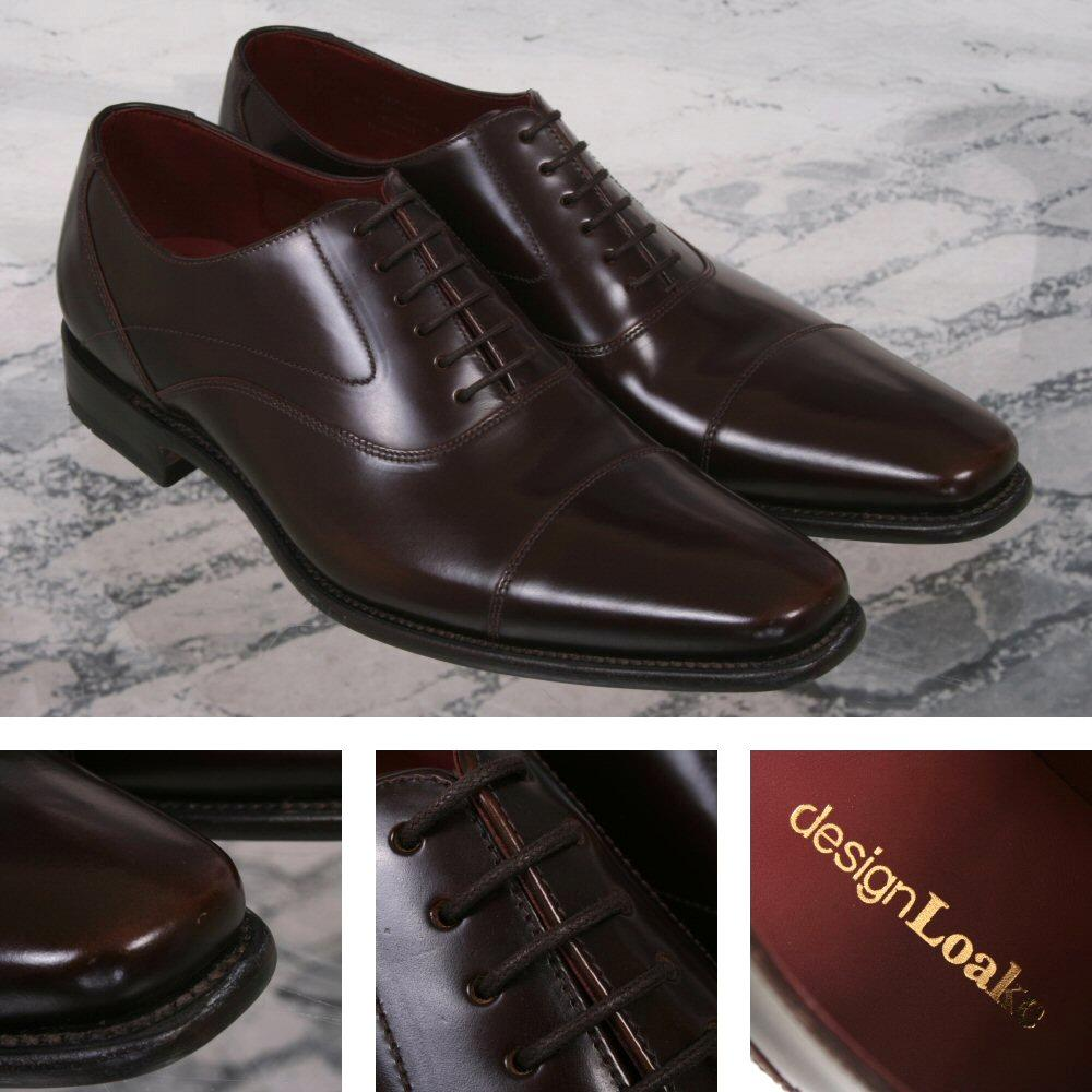 Loake Design Sharp Plain Polished Leather Lace Up Oxford Shoe Brown