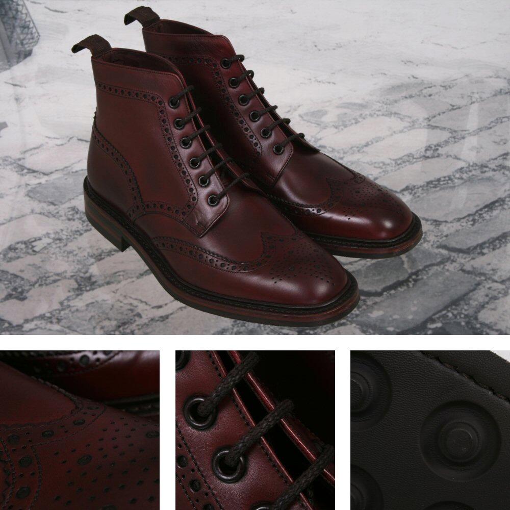 e2e6ea58f8367 Loake Burford Made in England Dainite Sole Leather Brogue Boot Burgundy  Thumbnail 1