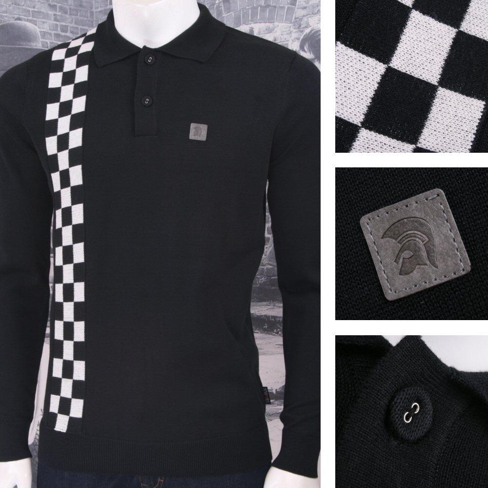 238dddcb7 Trojan Records Skin Rudeboy Checker Board Stripe Fine Gauge Knit Polo Black