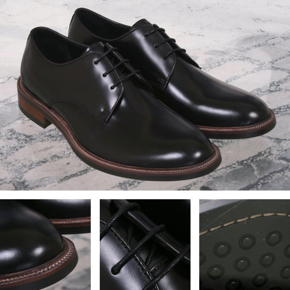 John White Cannon 60's Retro Mod Rubber Sole Leather Shoe Black