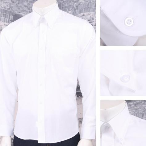 Tootal Vintage Authentic Fine Cotton Oxford L/S Button Down Shirt White