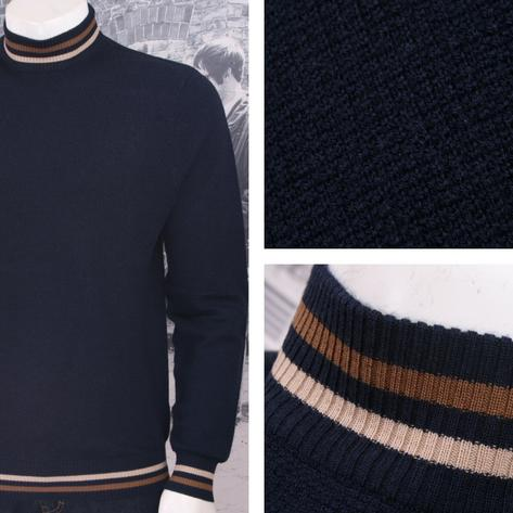 Art Gallery 60's Mod Retro 100% Wool Waffle Knit Tipped Turtle Neck Jumper Thumbnail 2
