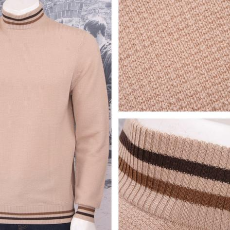 Art Gallery 60's Mod Retro 100% Wool Waffle Knit Tipped Turtle Neck Jumper Thumbnail 3