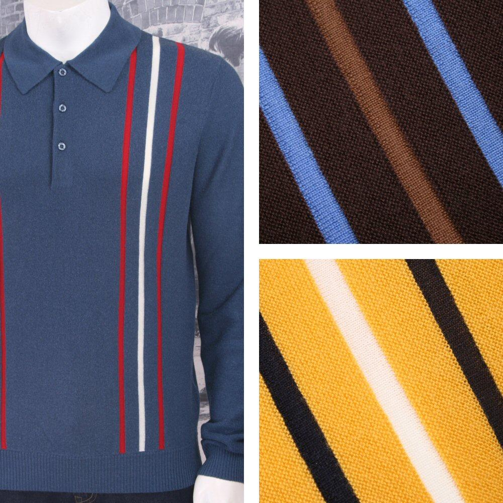 Art Gallery 60's Retro Mod 100% Wool Drop Stitch Racing Stripe Knit Polo Top