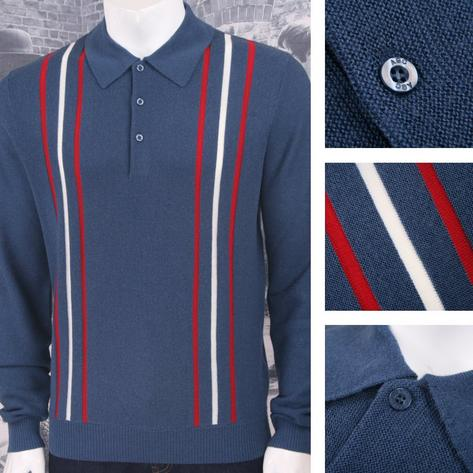 Art Gallery 60's Retro Mod 100% Wool Drop Stitch Racing Stripe Knit Polo Top Thumbnail 2