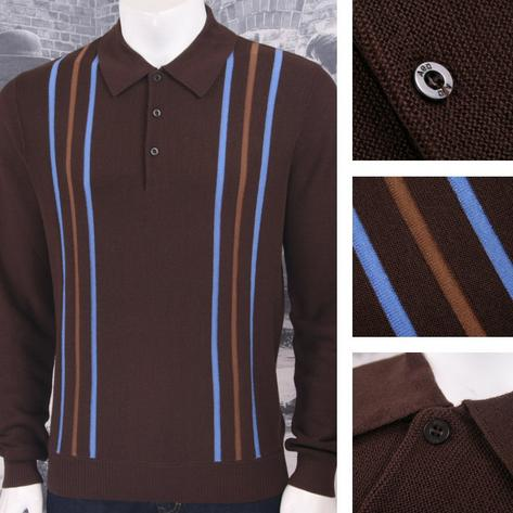 Art Gallery 60's Retro Mod 100% Wool Drop Stitch Racing Stripe Knit Polo Top Thumbnail 3