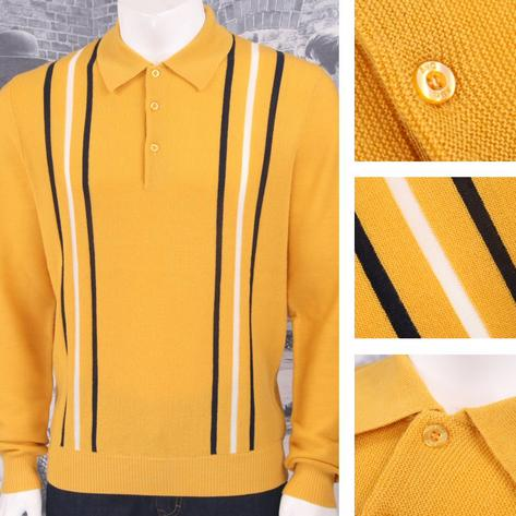 Art Gallery 60's Retro Mod 100% Wool Drop Stitch Racing Stripe Knit Polo Top Thumbnail 4