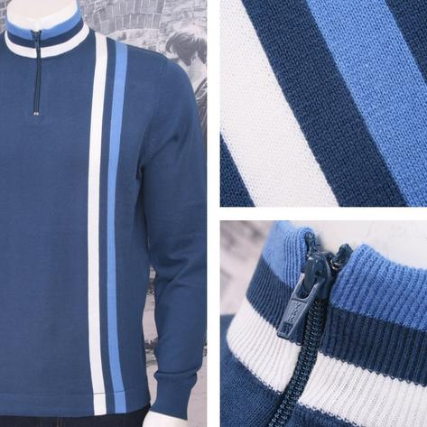 Art Gallery 60's Retro Mod 100% Cotton Zip Collar Knit Racing Stripe Cycling Top Thumbnail 1