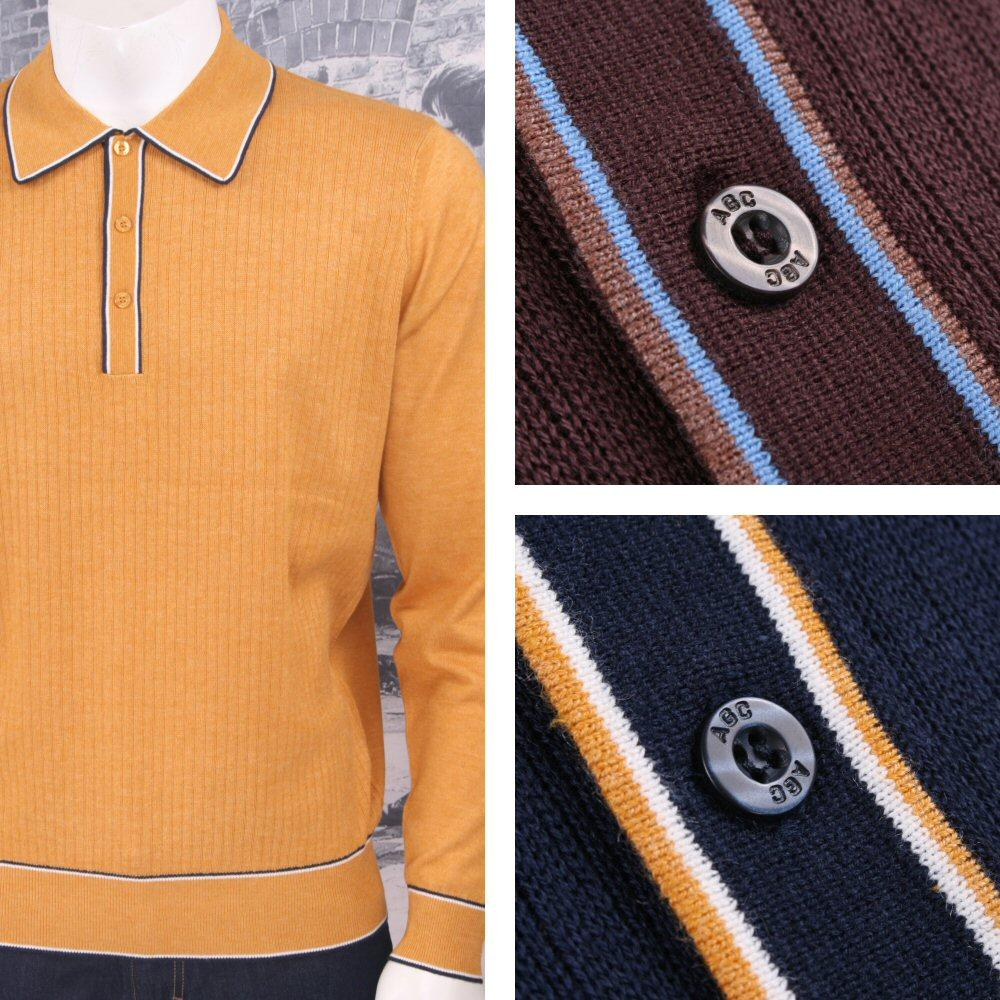 Art Gallery Retro Mod 3 Button Long Sleeve Ribbed Knit Piped Twin Polo Shirt