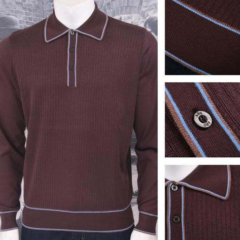 Art Gallery Retro Mod 3 Button Long Sleeve Ribbed Knit Piped Twin Polo Shirt Thumbnail 3