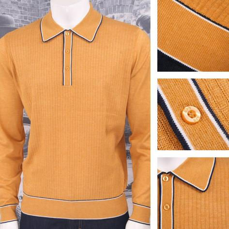 Art Gallery Retro Mod 3 Button Long Sleeve Ribbed Knit Piped Twin Polo Shirt Thumbnail 2