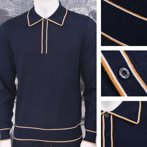 Art Gallery Retro Mod 3 Button Long Sleeve Ribbed Knit Piped Twin Polo Shirt Thumbnail 4