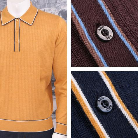 Art Gallery Retro Mod 3 Button Long Sleeve Ribbed Knit Piped Twin Polo Shirt Thumbnail 1